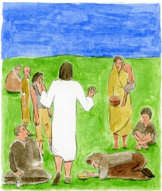Jesus sagt den Freunden, was selig ist.