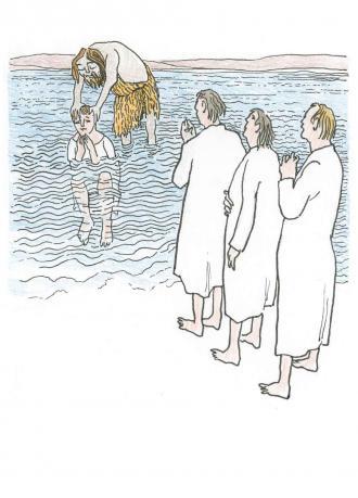 Johannes taufte die Menschen in dem Wasser.