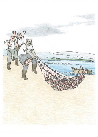 Die Freunde gehen fischen und Jesus steht am Strand