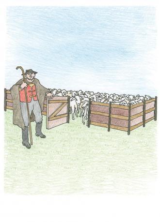 Jesus erzählt ein Beispiel von einem Schaf-Stall