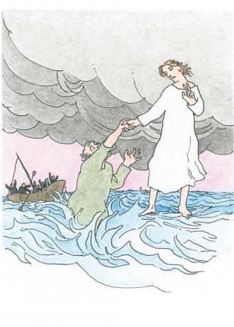 Jesus kommt seinen Freunden entgegen.