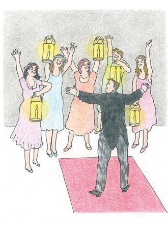 Jesus erzählt eine Geschichte von 5 Mädchen mit Kerze und 5 Mädchen ohne Kerze.