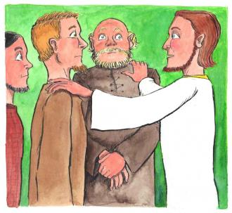 Jesus verabscheidet sich von seinen Freunden