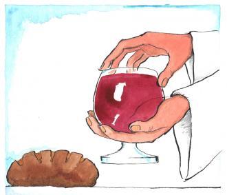 Jesus gibt den Jüngern Brot und Wein