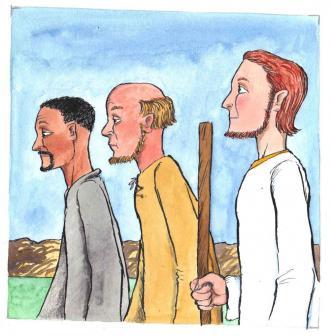 Jesus ging mit den 2 Jüngern mit