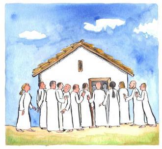 Die Mutter und die Brüder Jesu standen vor dem Haus
