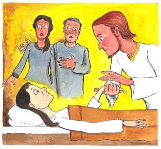 Jesus macht ein kleines Mädchen gesund