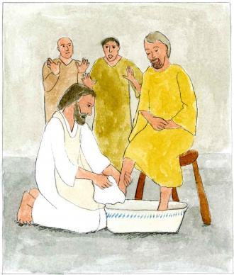 Jesus wäscht bei seinen Freunden die Füße.