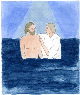 Der Heilige Geist kommt auf Jesus herab.