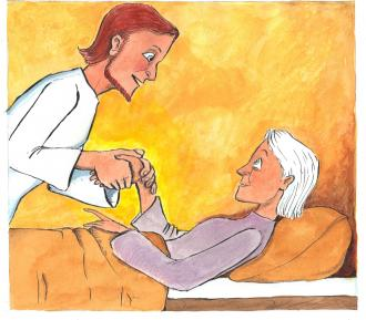 Jesus macht die Schwiegermutter von Simon gesund